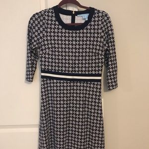 Draper James Navy and White Print Dress